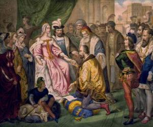 puzzel Columbus in gesprek met koningin Isabella I van Castilië, in het hof van Ferdinand en Isabella