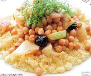 puzzel Couscous met kikkererwten en groenten