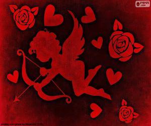 puzzel Cupido, hart en rozen
