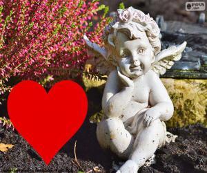 puzzel Cupido i rood hart