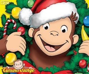 puzzel Curious George met Kerstmis