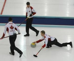 puzzel Curling is een precisie die vergelijkbaar zijn met de sport petanque of jeu de boules Engels, uitgevoerd in een ijsbaan.