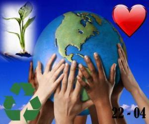 puzzel Dag van de Aarde, 22 april. Een gelukkige wereld, een wereld van recycling en liefde voor het milieu