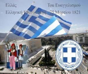 puzzel Dag van de Onafhankelijkheid van Griekenland, 25 maart 1821. Onafhankelijkheidsoorlog of Griekse Revolutie