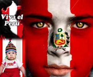 puzzel Dag van de Onafhankelijkheid van Peru, 28 juli. Het herdenkt de Verklaring van Onafhankelijkheid van Spanje in 1821