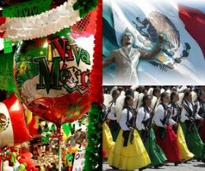puzzel Dag van de Onafhankelijkheid van Mexico. Herdenkt 16 september 1810, het begin van de strijd tegen het Spaanse gezag