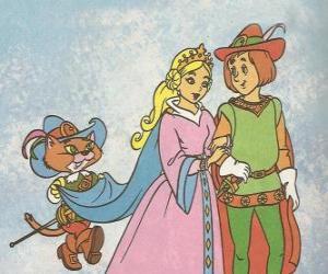 puzzel Dankzij de vindingrijkheid van Puss in Boots jongste molenaar zoon werd de Markies van Carabas en trouwt met de mooie prinses