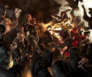 puzzel Daredevil, De man zonder Vrees is een blinde superheld die heeft de andere zintuigen overontwikkeld en heeft een zesde zintuig, de echolocatie