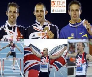 puzzel David Greene kampioen 400 m horden, Rhys Williams en Stanislav Melnykov (2e en 3e) van het Europees Kampioenschap Atletiek 2010 in Barcelona