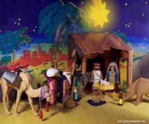 puzzel De Aanbidding van de koningen uit het Oosten naar het Kindje Jezus