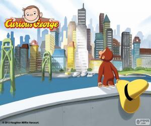 puzzel De aap George en de stad