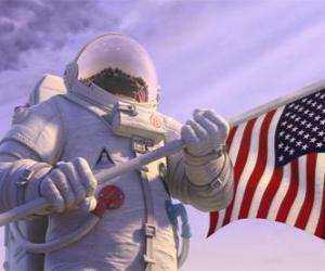 puzzel De astronaut Chuck Baker stappen op Planet 51 denken dat het onbewoond