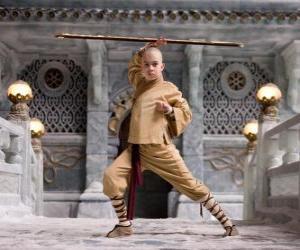 puzzel De Avatar Aang is de hoofdpersoon van het avontuur en zijn lot is om kapitein de vier elementen: Lucht, Water, Aarde en Vuur