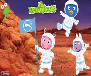 puzzel De Backyardigans astronauten aangekomen op Mars