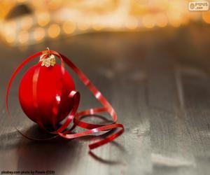 puzzel De bal en de band van Kerstmis