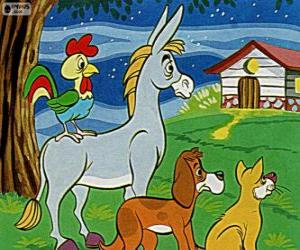 puzzel De Bremer stadsmuzikanten: een ezel, een hond, een kat en een haan