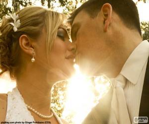 puzzel De bruid en bruidegom kus