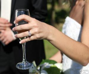 puzzel De bruid met een glas champagne