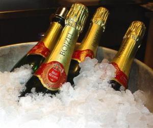 puzzel De champagne (of champagne) van de Franse champagne, is een soort mousserende wijn, geproduceerd door de methode champenoise in de Champagne streek in Frankrijk.
