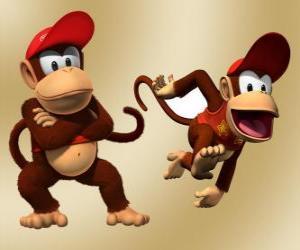 puzzel De chimpansee Diddy Kong, karakter in het videospel Donkey Kong