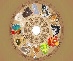 puzzel De cirkel met de tekens van de twaalf dieren van de Chinese Zodiac, Chinese Horoscoop