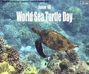 puzzel De Dag van de Zeeschildpad van de wereld