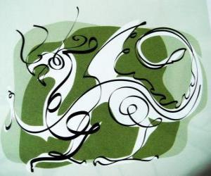 puzzel De draak, het teken van de Draak, het Jaar van de Draak. Vijfde Chinese dierenriem dieren