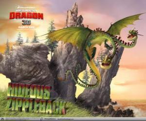 puzzel De draken Razende Ritzerug veroorzaken explosies, terwijl een hoofd stoot gas, het andere ingnite