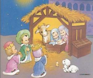 puzzel De Drie Koningen het leveren van hun gaven, goud, wierook en mirre, om het kindje Jezus