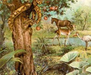 puzzel De duivel als een slang in de Boom van Kennis van Goed en Kwaad