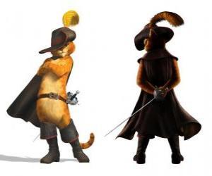 puzzel De elegante Kat met een zwaard in zijn gordel, hoed, jas en laarzen