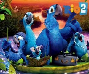 puzzel De familie van Blu in de Amazone
