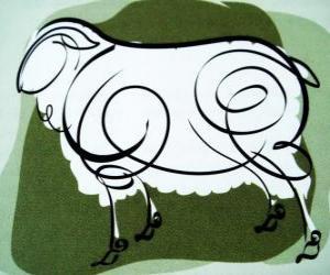 puzzel De geit, het teken van de Geit, het jaar van de Geit in de Chinese astrologie. De achtste teken van de Chinese kalender