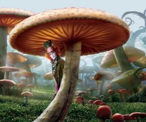 puzzel De gekke Hoedenmaker (Johnny Depp), verborgen onder een paddestoel