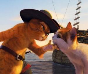 puzzel De Gelaarsde Kat aaien andere kat naast de pier