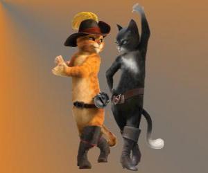 puzzel De Gelaarsde Kat dansen met Kitty de poes