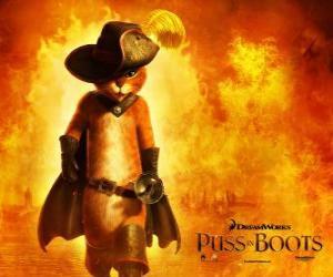 puzzel De Gelaarsde Kat, de hoofdrolspeler van de nieuwe DreamWorks film