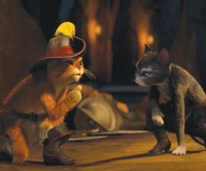 puzzel De Gelaarsde Kat in gesprek met Kitty