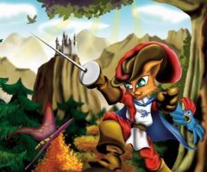 puzzel De gelaarsde kat met zijn zwaard hoog gehouden