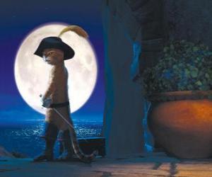 puzzel De Gelaarsde Kat op een maanverlichte nacht