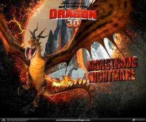 puzzel De gigantische draken Monsternachtmerrie aanval kan elk moment van de dag of nacht, vanuit de lucht of de bodem