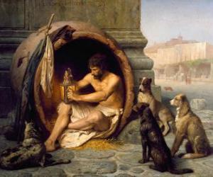 puzzel De Griekse filosoof Diogenes van Sinope, binnen zijn vat, op de straten van Athene