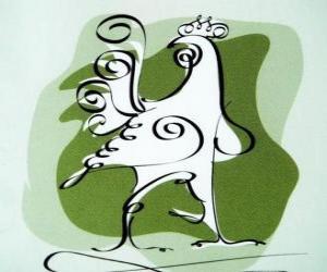 puzzel De haan, het teken van de haan, het Jaar van de Haan in de Chinese astrologie. De tiende van de Chinese horoscoop dier