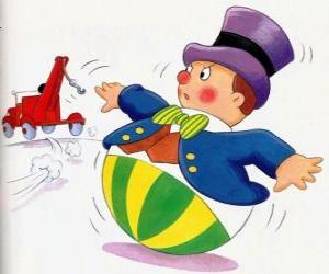 puzzel De heer Wobbly, een grappig mannetje met een ronde voet die niet kan liegen