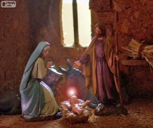 puzzel De Heilige Familie op kerstavond