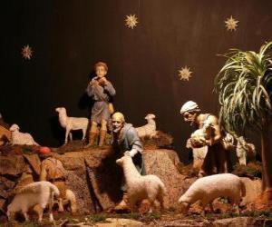 puzzel De herders van de kerststal karakters