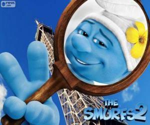 puzzel De Hippe Smurf, een van de Smurfen in de Parijs avonturen