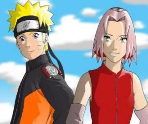 puzzel De hoofdpersonen Naruto Uzumaki en Sakura Haruno glimlachen