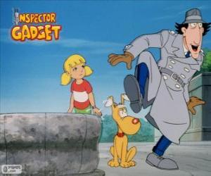 puzzel De Inspector Gadget met zijn nichtje Penny en haar hond Brain