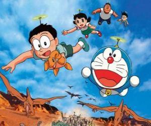 puzzel De kat Doraemon met zijn vrienden Nobita, Shizuka, Suneo en Takeshi